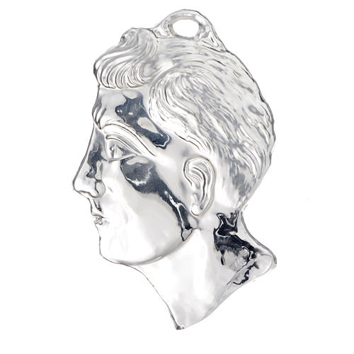 Ex voto testa di uomo argento 925 o metallo 13 cm 1