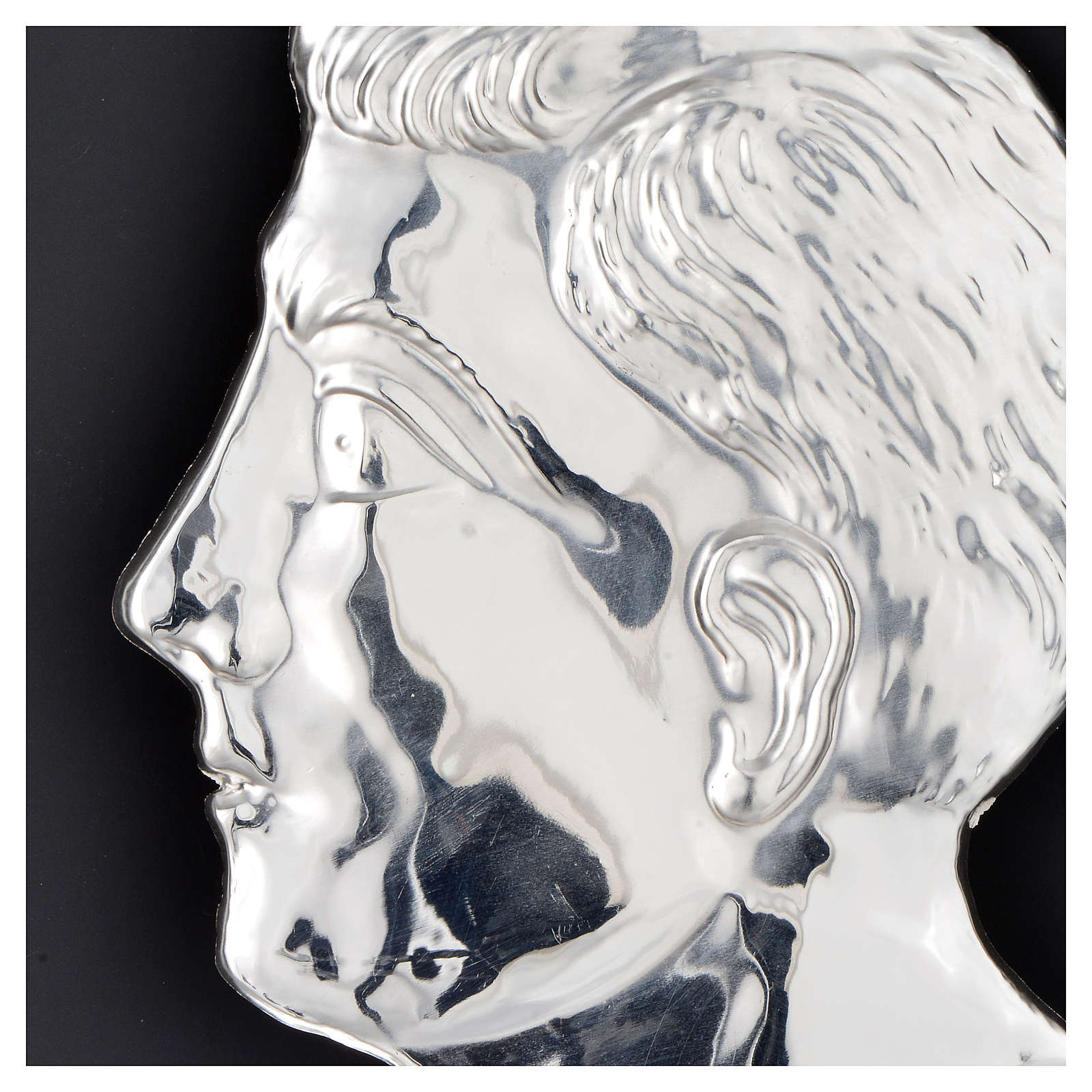 Ex-voto, man head in sterling silver or metal, 13cm 3