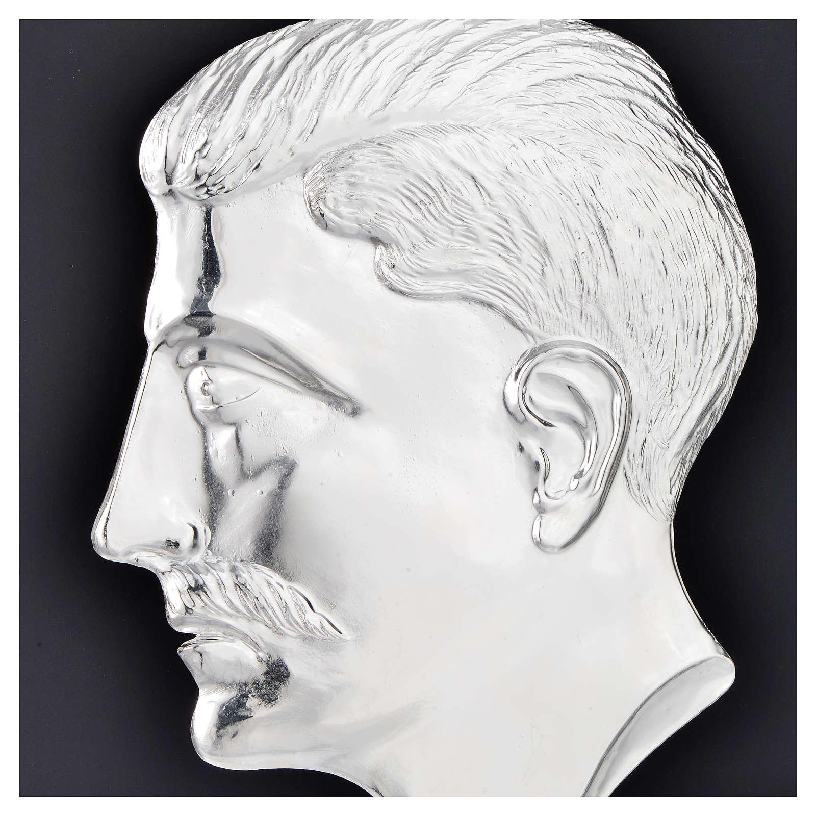 Ex-voto, male head in sterling silver or metal 15cm 3