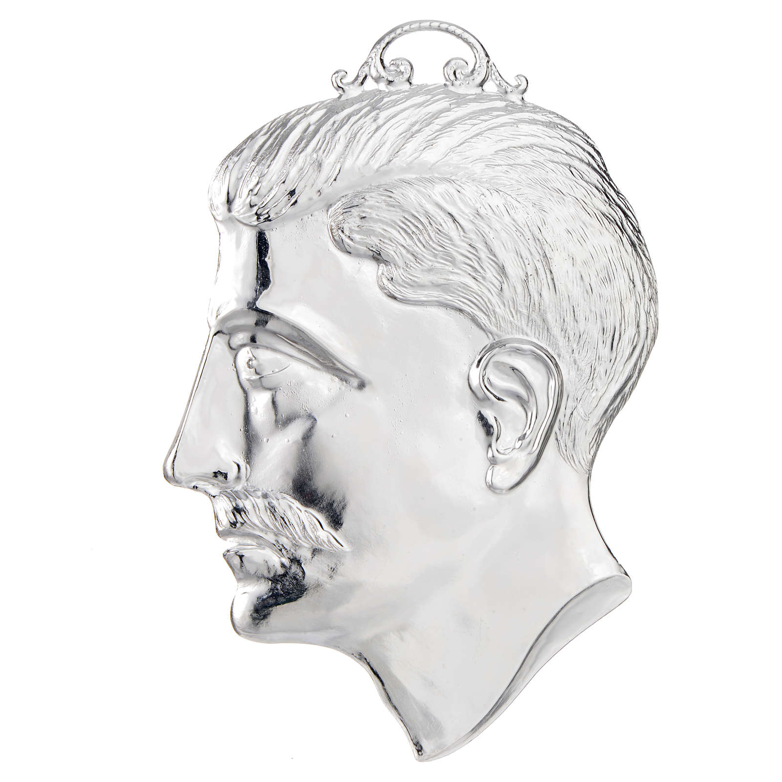 Ex-voto, male head in sterling silver or metal 15cm 3