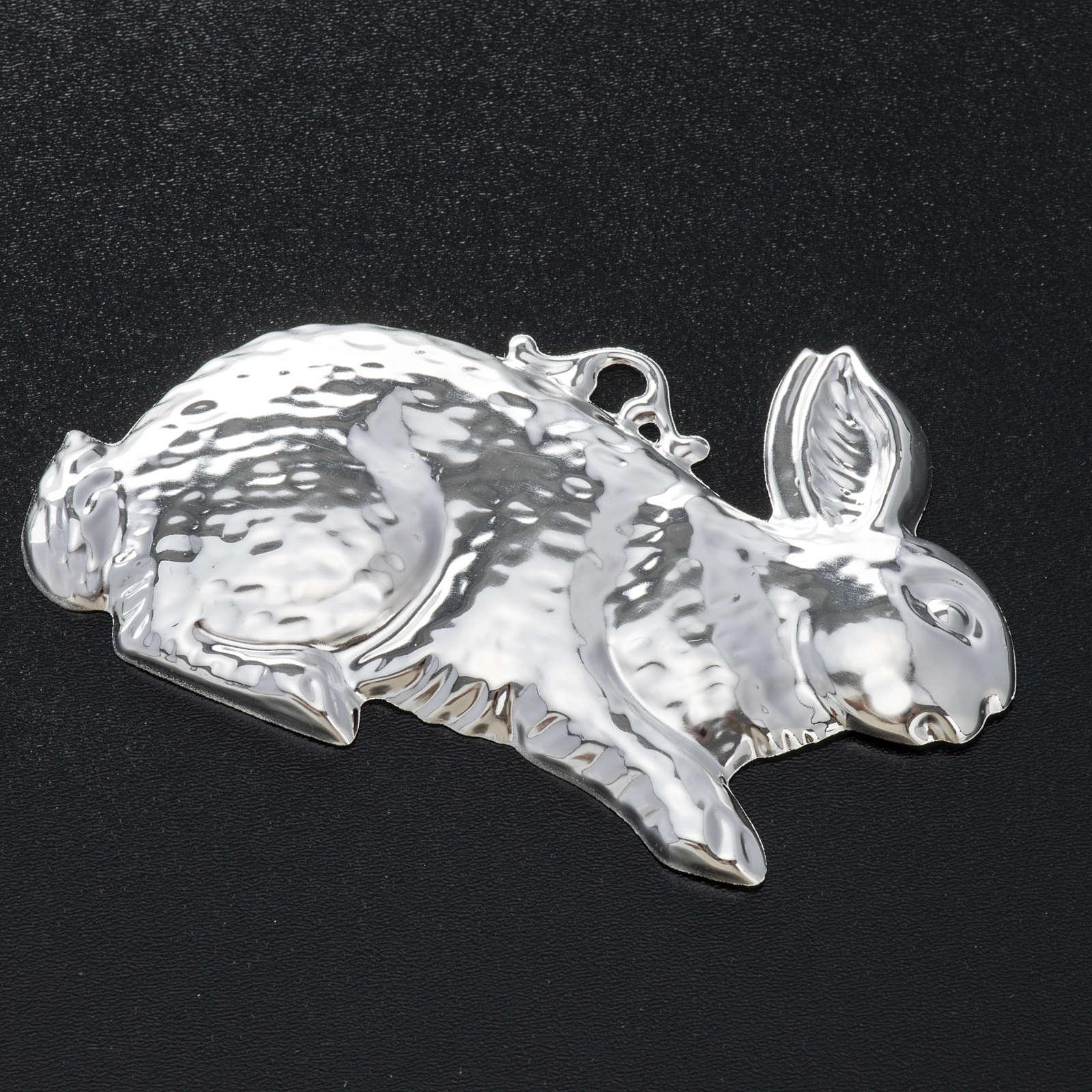 Exvoto coniglio argento 925 o metallo 10x6 cm 3