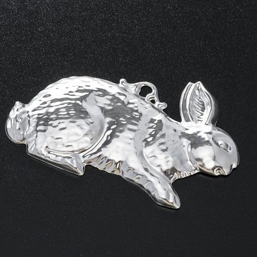 Exvoto coniglio argento 925 o metallo 10x6 cm 2
