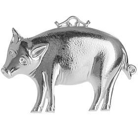 Ex voto porc en argent 925 ou métal 10x6 cm s1