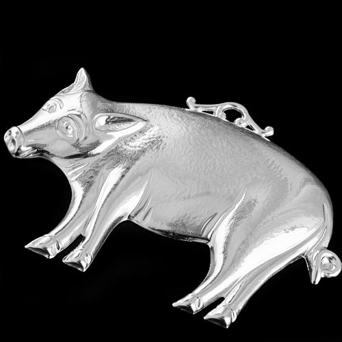 Ex-voto, pig in sterling silver or metal, 10 x 6cm 2