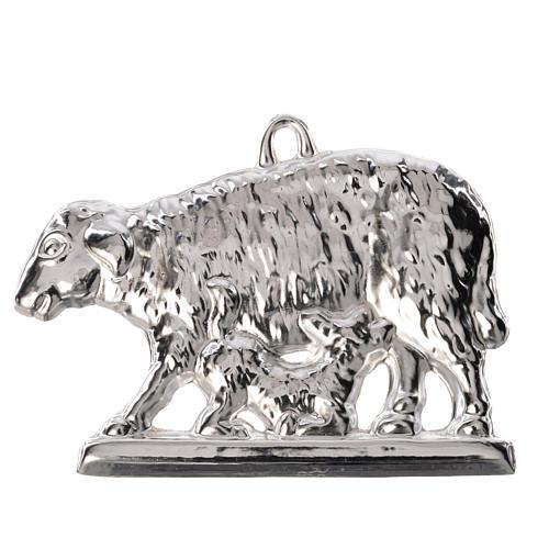 Ex-voto oveja y cordero tendido plata 925 o metal 11 x 7 cm. 1