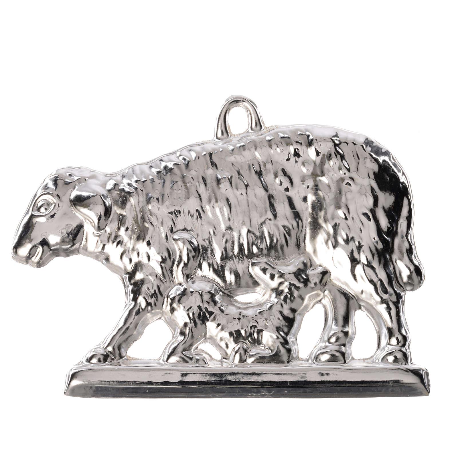 Exvoto pecora e agnello con base argento 925 o metallo 11x7 cm 3
