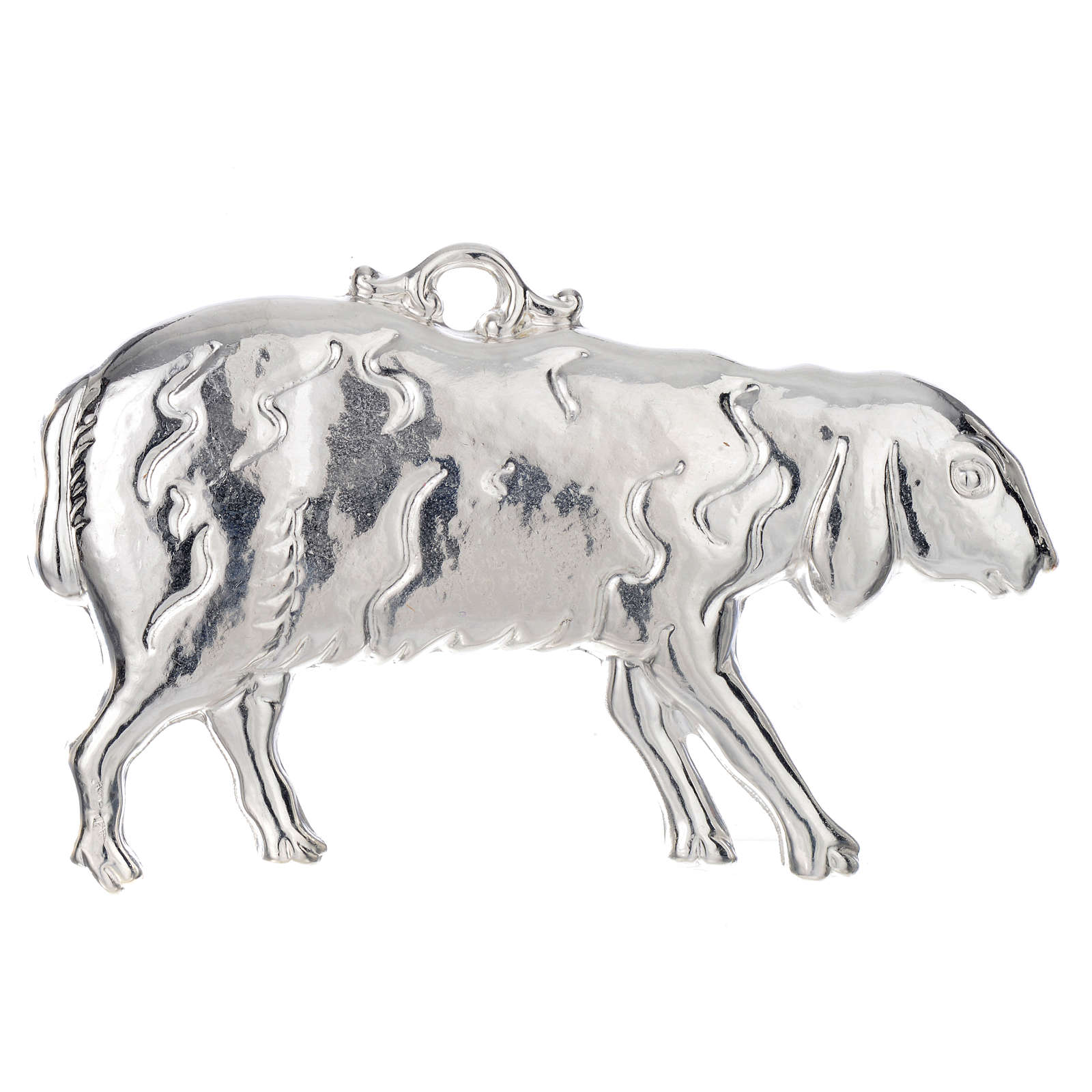 Ex-voto oveja tendido plata 925 o metal 11 x 6 cm. 3