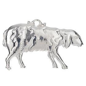 Ex-voto oveja tendido plata 925 o metal 11 x 6 cm. s1