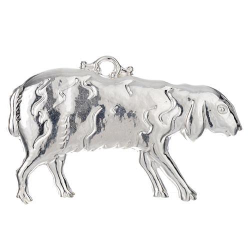 Ex-voto oveja tendido plata 925 o metal 11 x 6 cm. 1