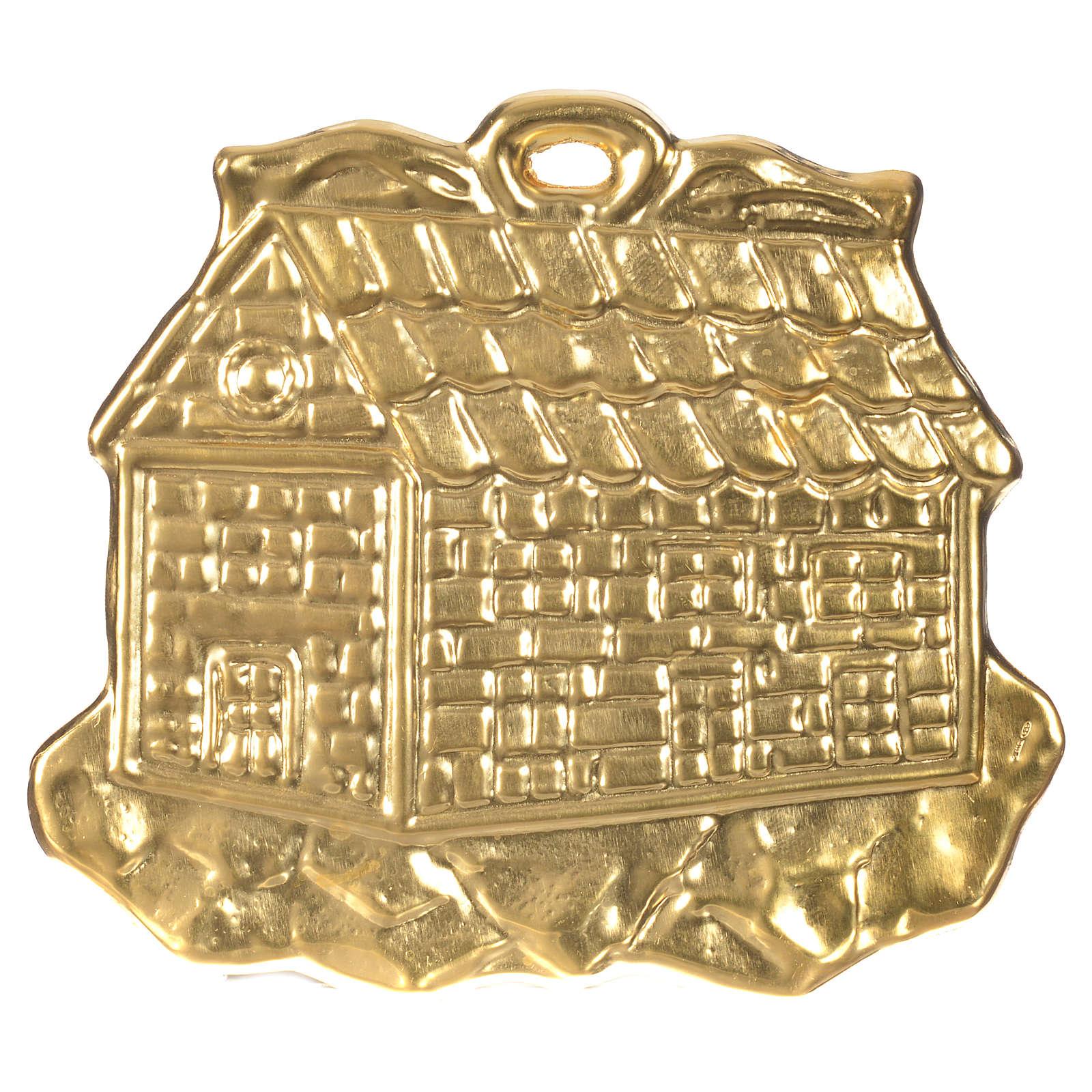 STOCK Casetta ex voto argento 925 dorato 8.5x10 cm 3