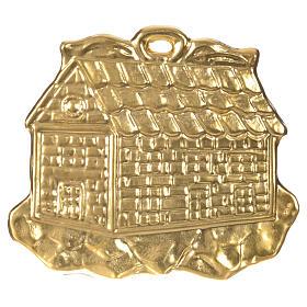 STOCK Casetta ex voto argento 925 dorato 8.5x10 cm s1
