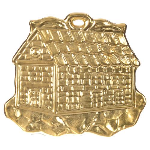 STOCK Casetta ex voto argento 925 dorato 8.5x10 cm 1