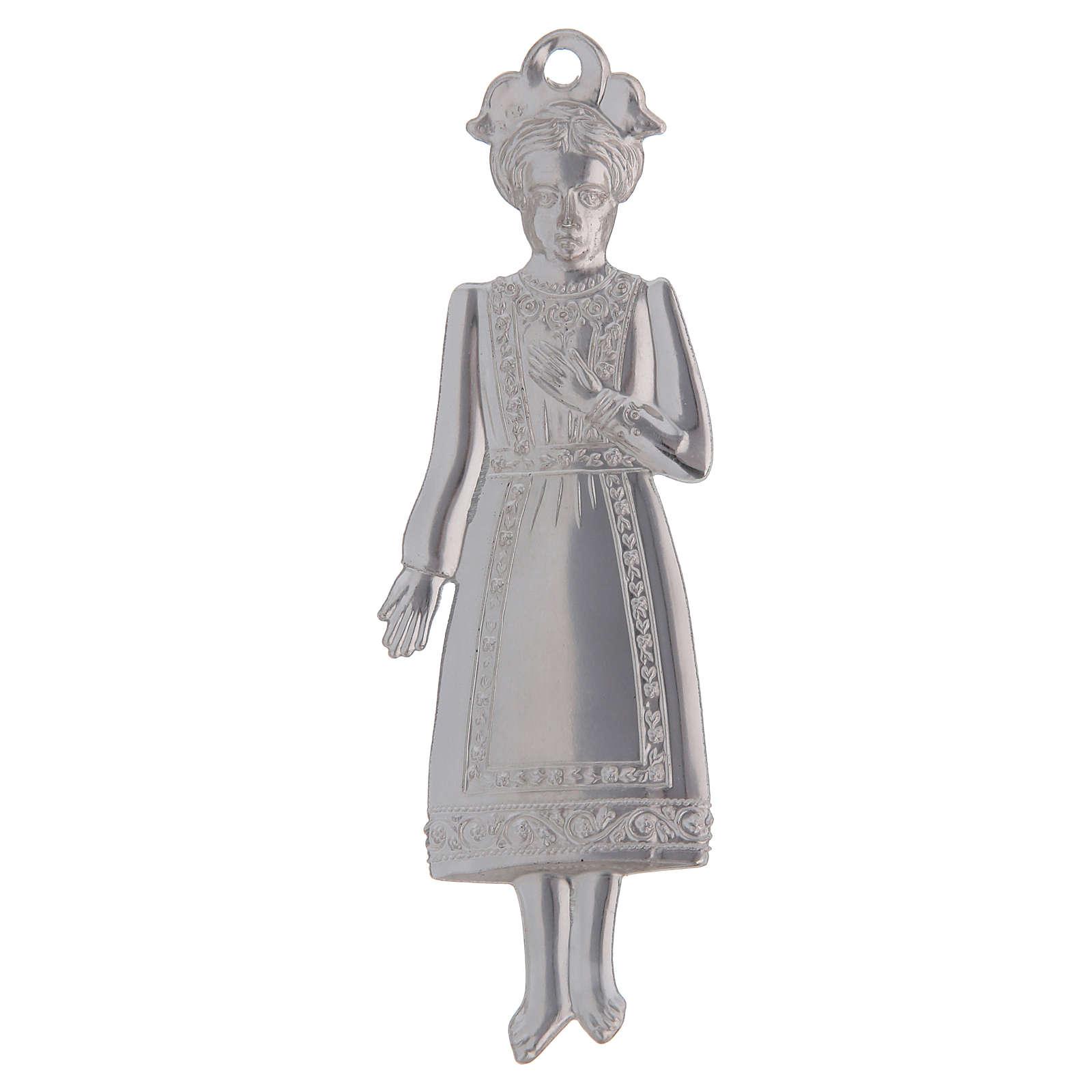 STOCK Girl in metal, ex-voto 13 cm 3