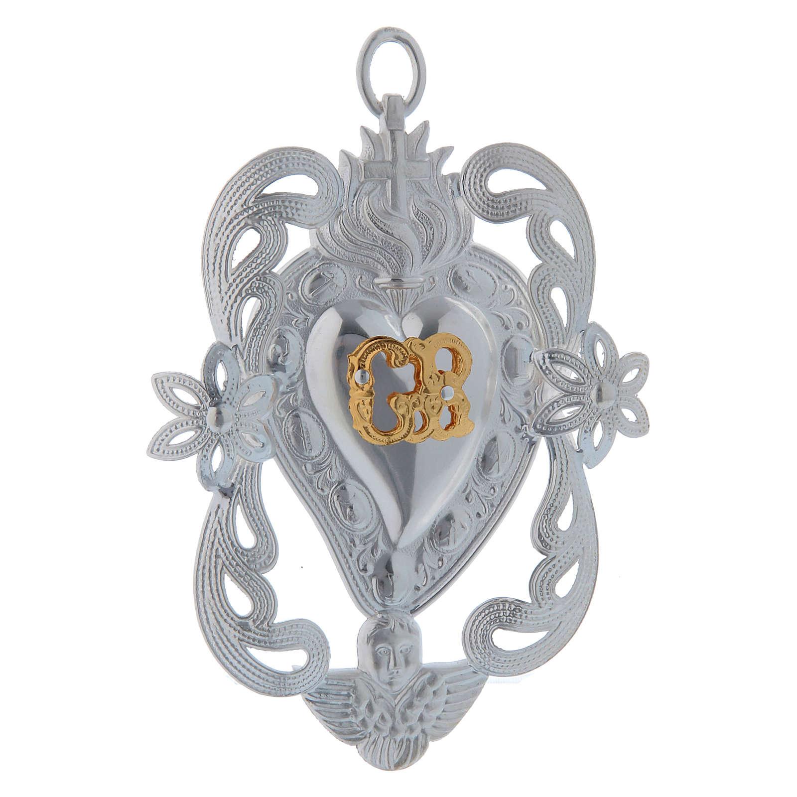 STOCK Votive heart in metal, ex-voto 10x7 cm 3