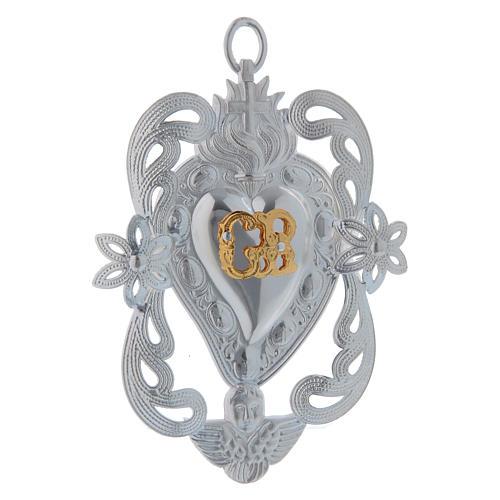 STOCK Votive heart in metal, ex-voto 10x7 cm 1