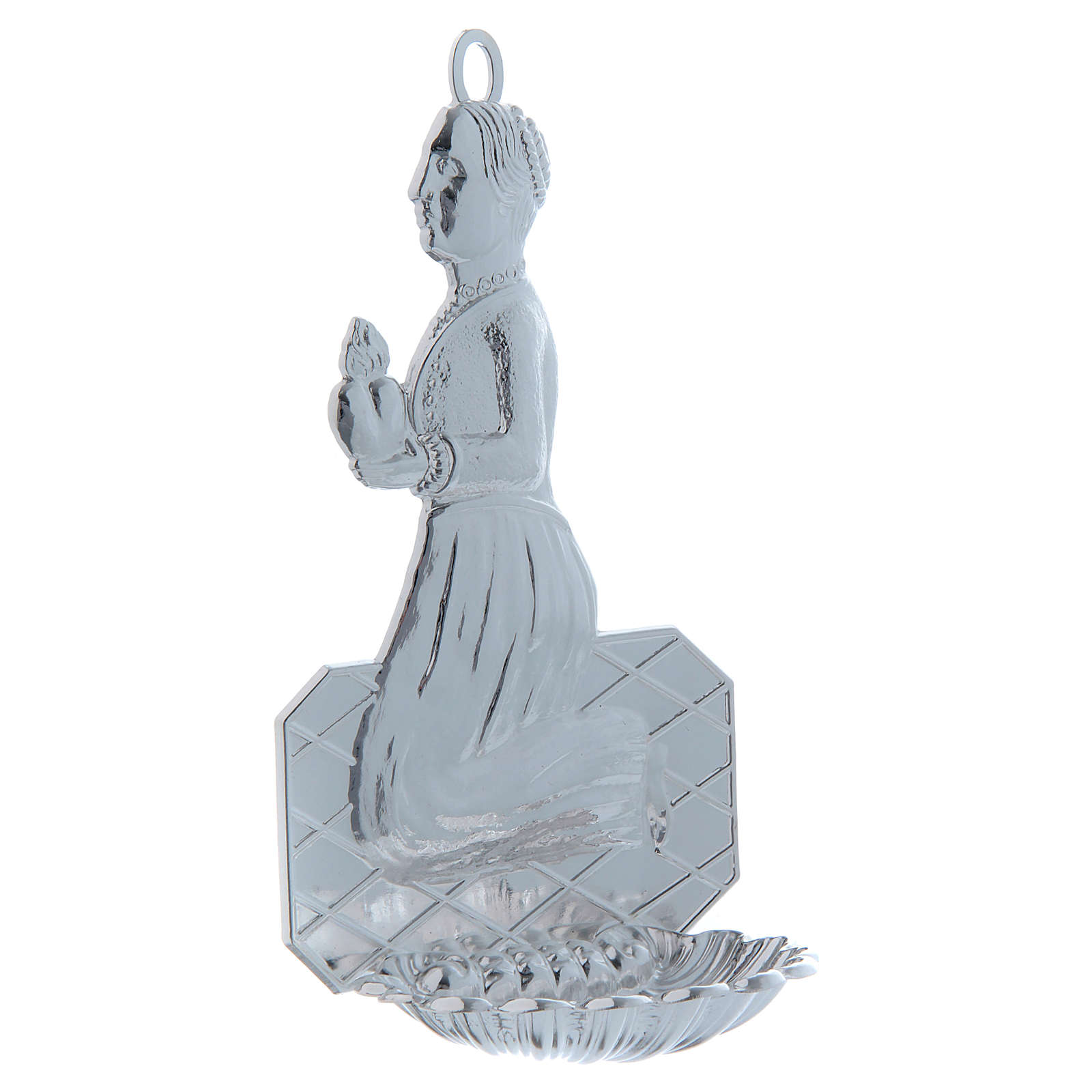 STOCK Holy water font in metal, praying woman 12 cm 3
