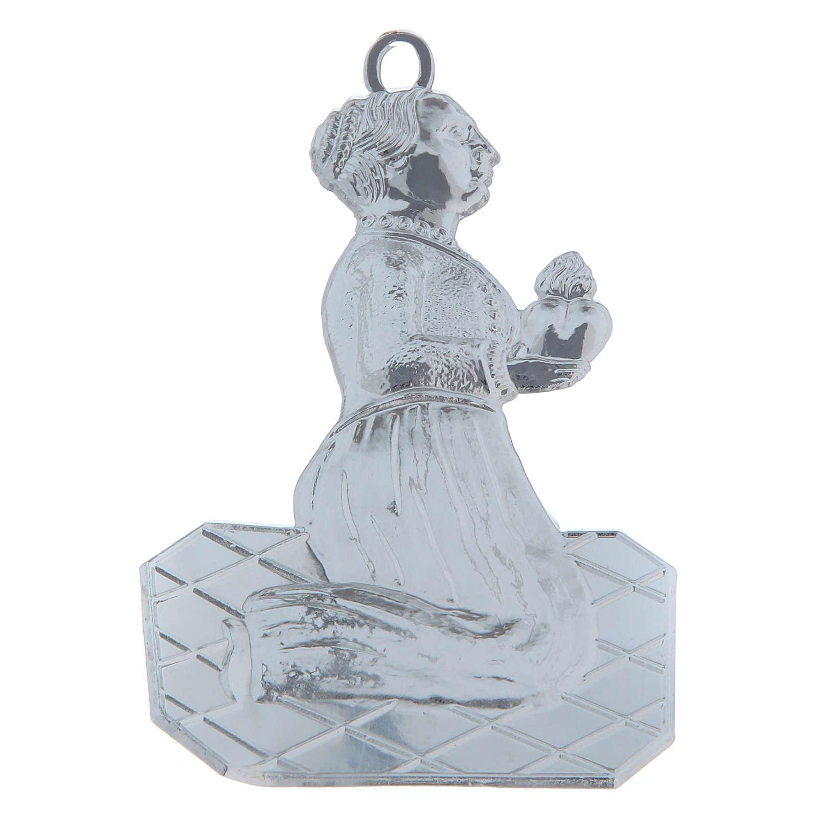 STOCK Pia água benta metal mulher em oração h 12 cm 3