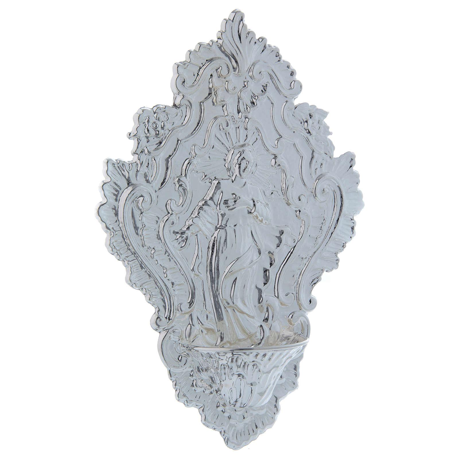 STOCK Acquasantiera Metallo immagine di Maria cm 24 3