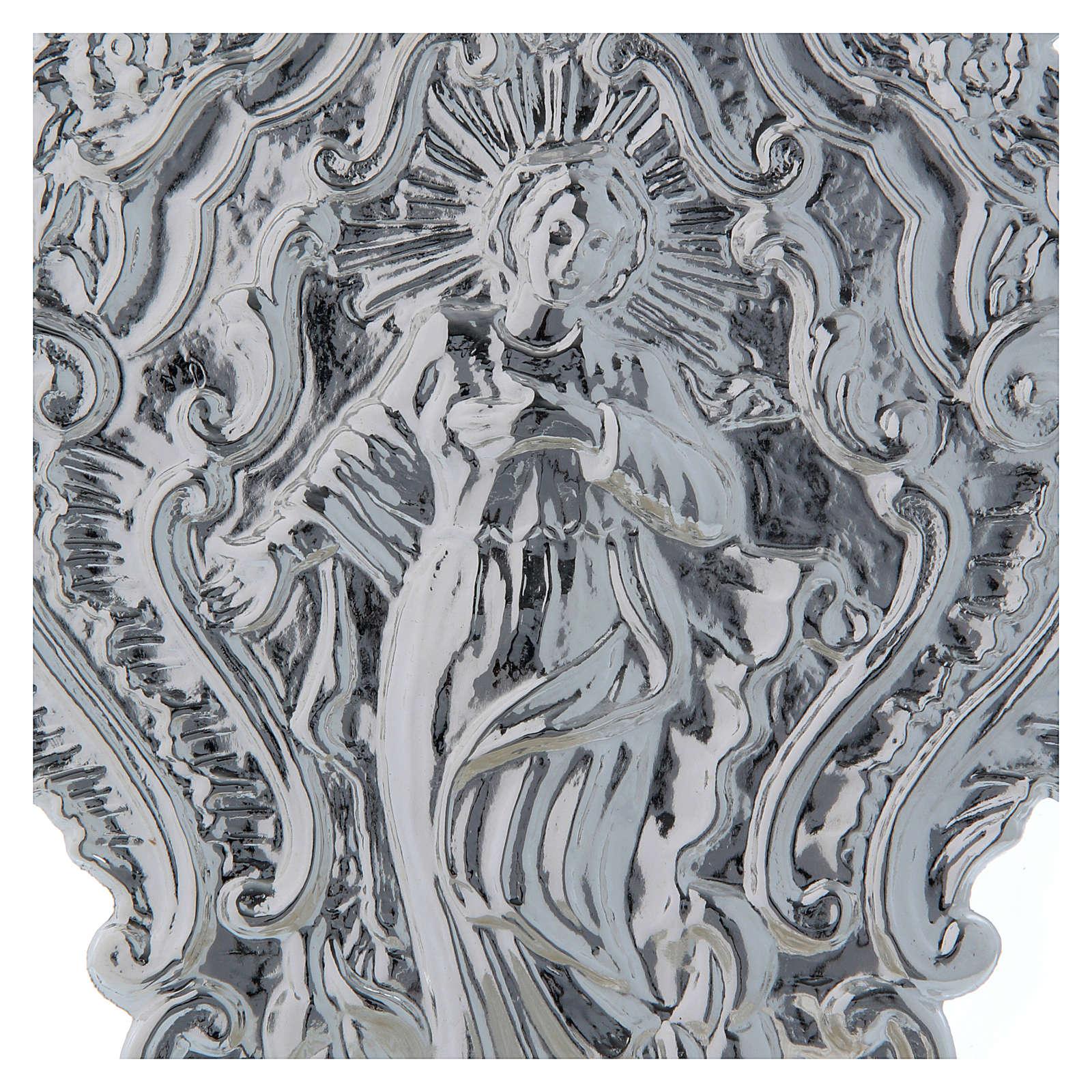 STOCK Pia água benta metal imagem de Maria 24 cm 3