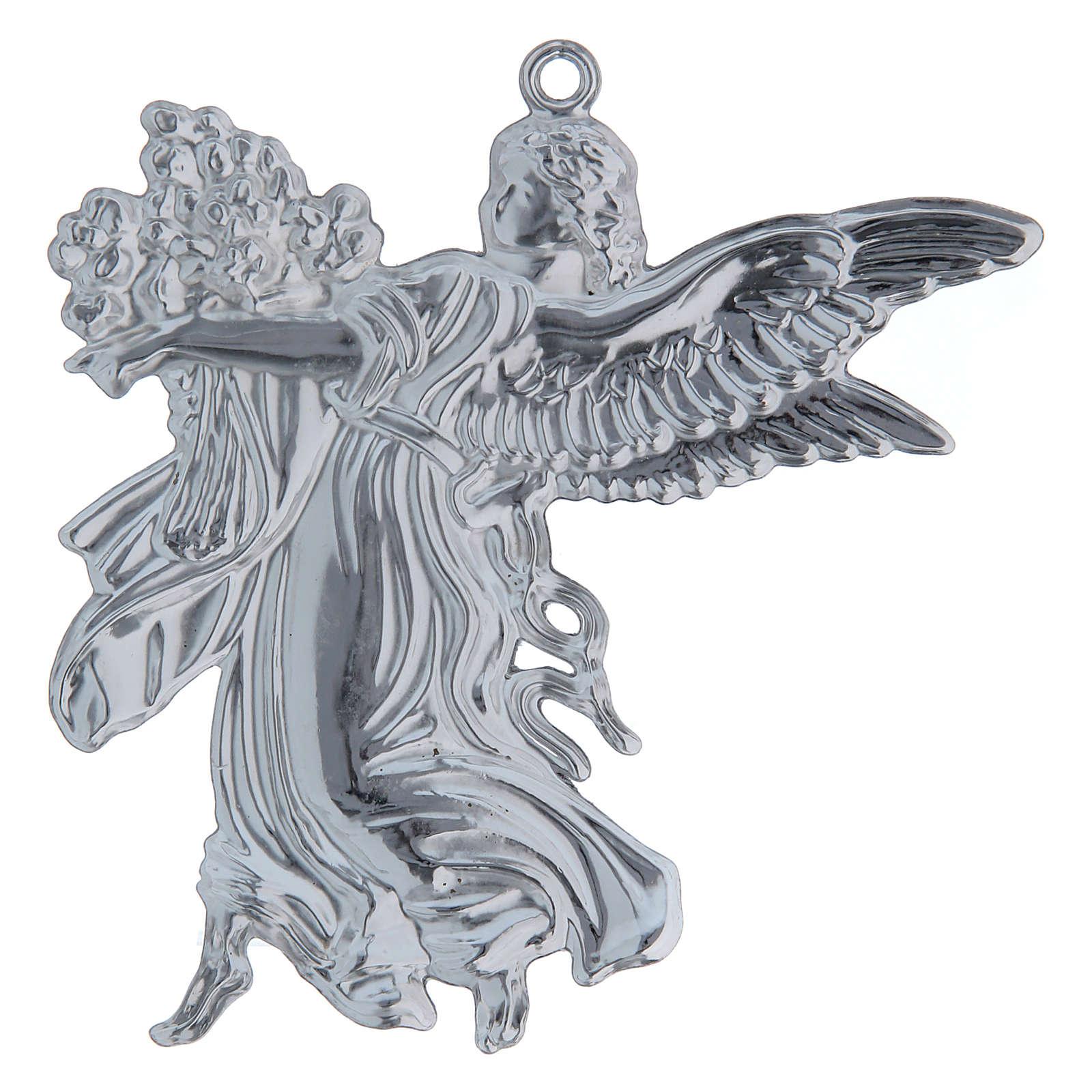 STOCK Angelo votivo con fiori in metallo cm h. 11 3