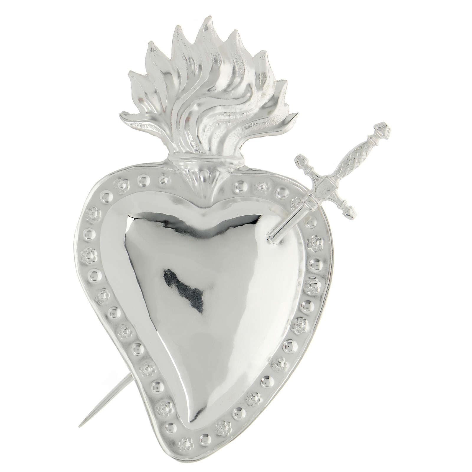 Ex voto corazón trapasado por una espada metal 15x10 cm 3
