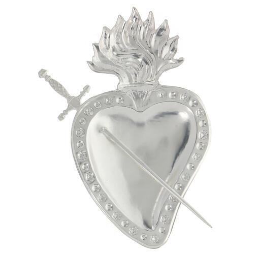 Ex voto corazón trapasado por una espada metal 15x10 cm 2