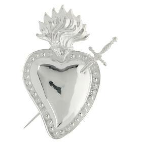 Ex voto cuore trapassato da spada metallo 15x10 cm s1