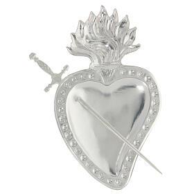 Ex voto cuore trapassato da spada metallo 15x10 cm s2
