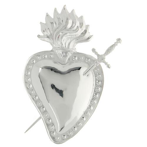 Ex voto cuore trapassato da spada metallo 15x10 cm 1