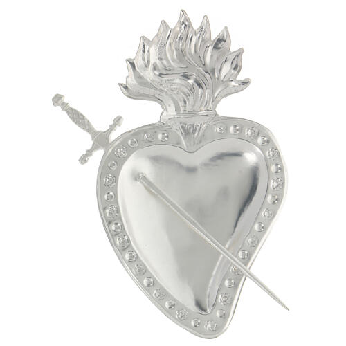 Ex voto cuore trapassato da spada metallo 15x10 cm 2