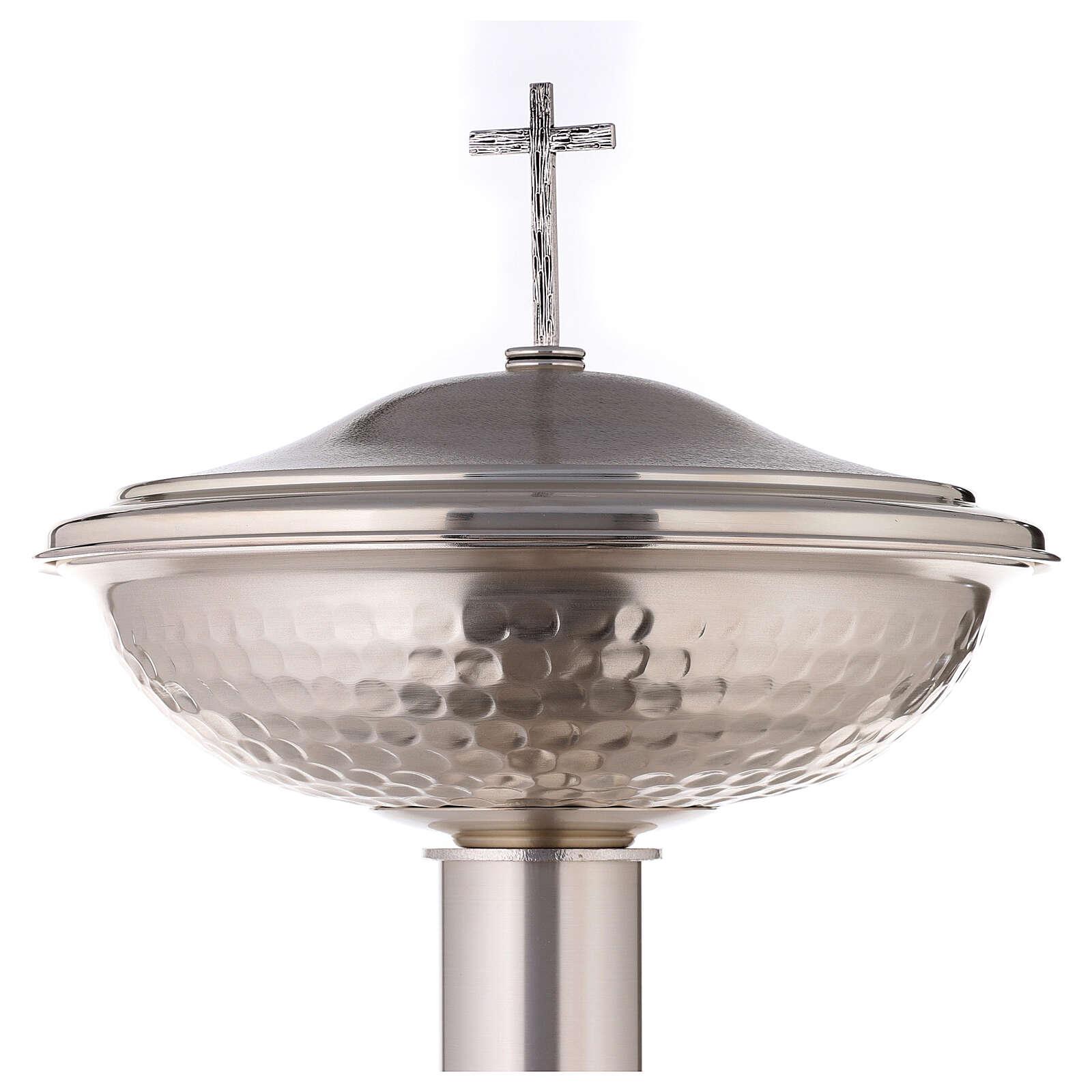 Fuente bautismal de bronce plateado martillado 4