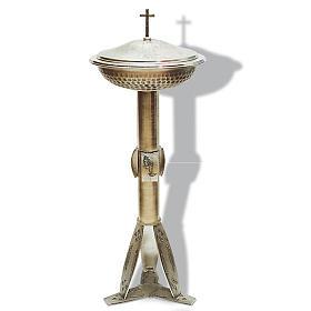 Fuente bautismal de bronce plateado martillado s1