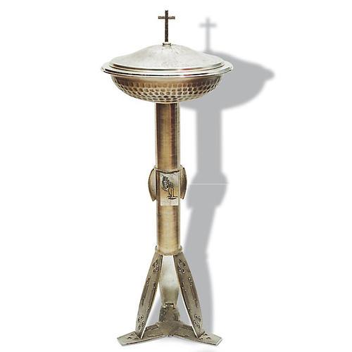 Fuente bautismal de bronce plateado martillado 1