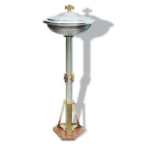 Fuente bautismal de bronce plateado 1