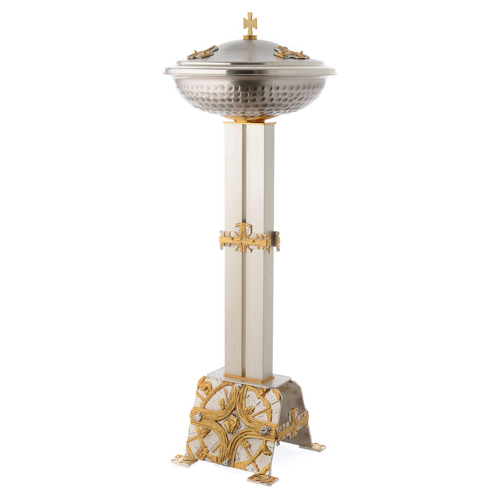 Fuente bautismal de bronce dorado y plateado 4
