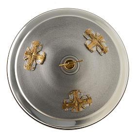 Fuente bautismal de bronce dorado y plateado s5