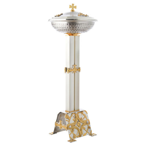 Fuente bautismal de bronce dorado y plateado 2