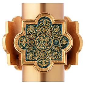 Pila Bautismal dorada decoración lacada azul s4