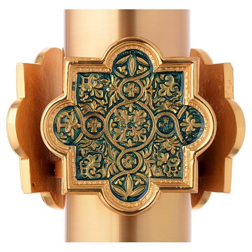 Pila Bautismal dorada decoración lacada azul 4