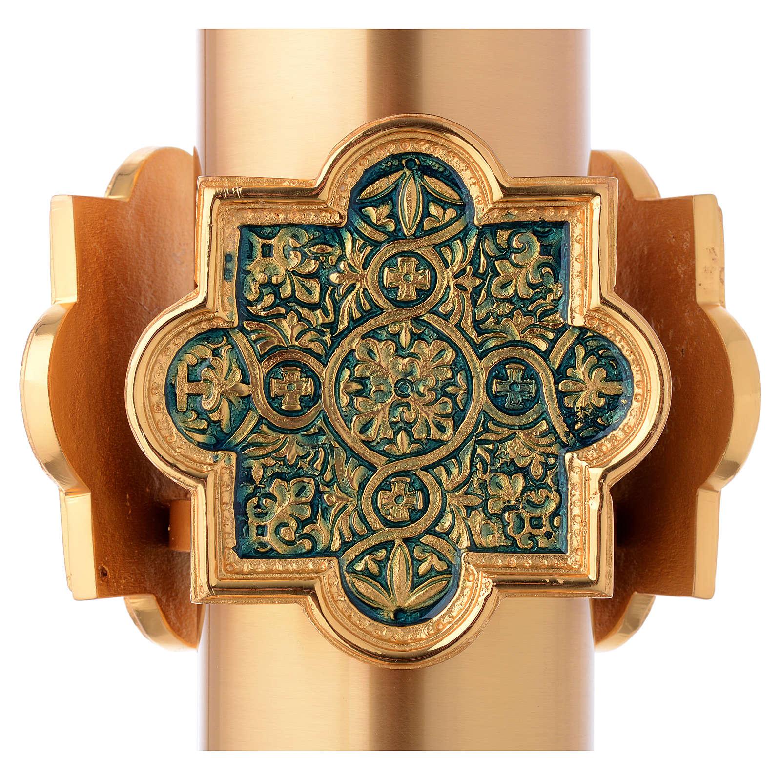 Fonte Battesimale dorata decoro blu laccato 4