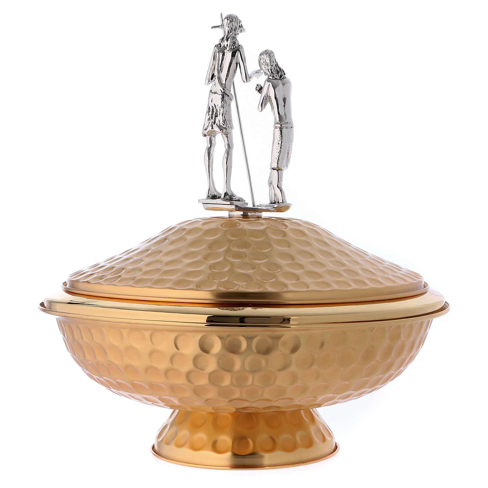 Fuente bautismal de mesa de latón San Juan Buatista 4