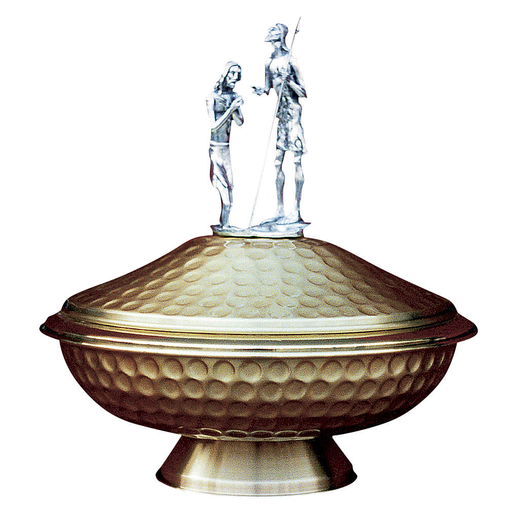 Cuve baptismale d'autel laiton Saint Jean-Baptiste 4