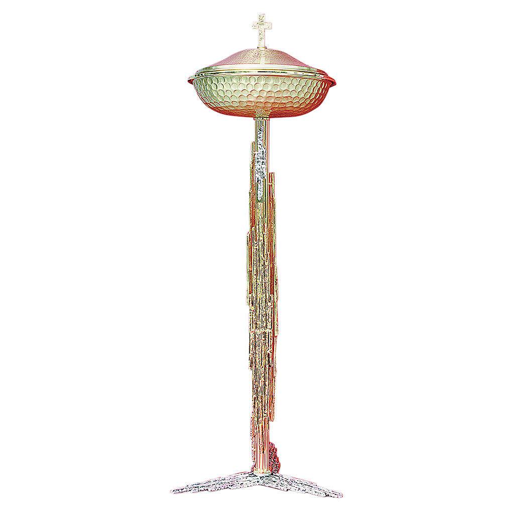 Fuente bautismal de latón fundido oro y plata 122 cm 4