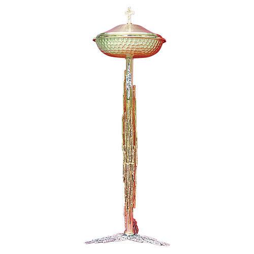 Fuente bautismal de latón fundido oro y plata 122 cm 1