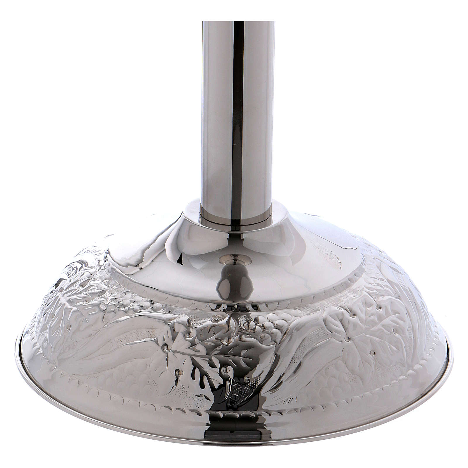 Baptismal font with grape bunches and leaves in silver brass 4