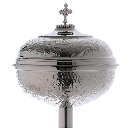 Baptismal font with grape bunches and leaves in silver brass 2