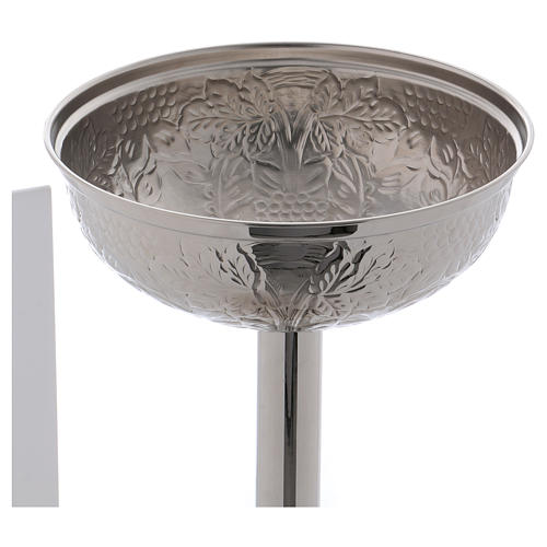 Baptismal font with grape bunches and leaves in silver brass 6