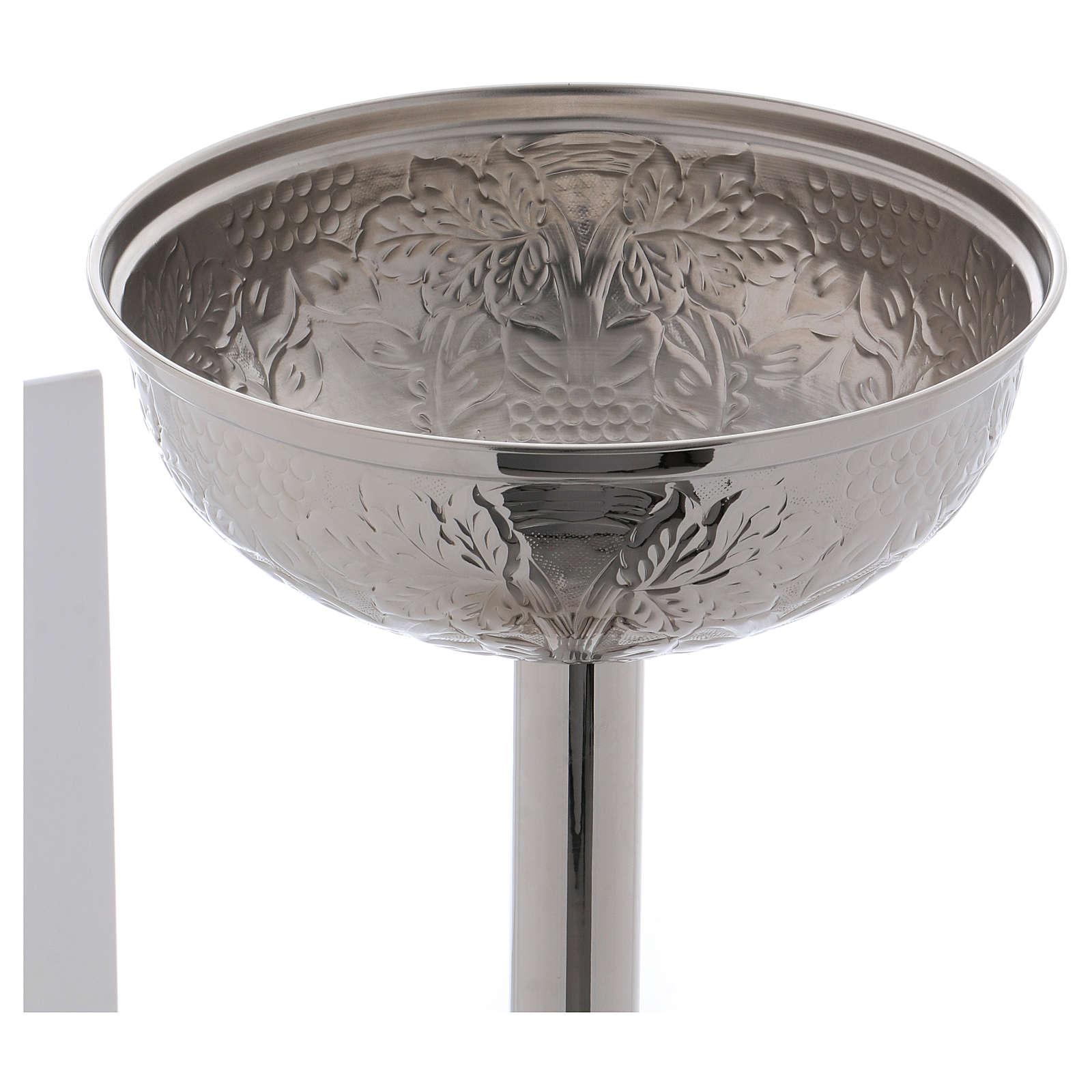 Fonte Battesimale grappoli e foglie ottone argentato 4