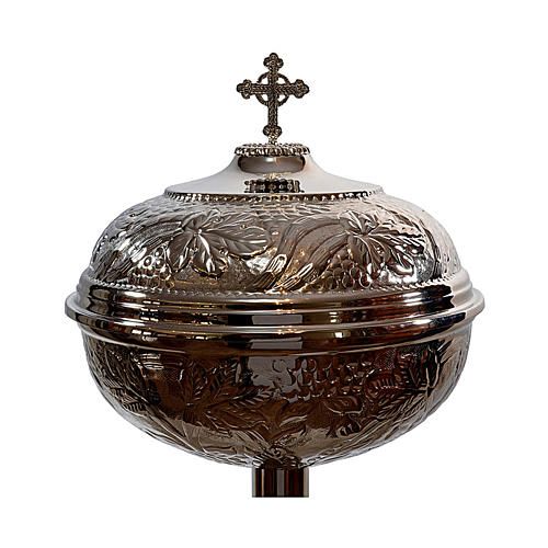 Fonte Battesimale grappoli e foglie ottone argentato 2