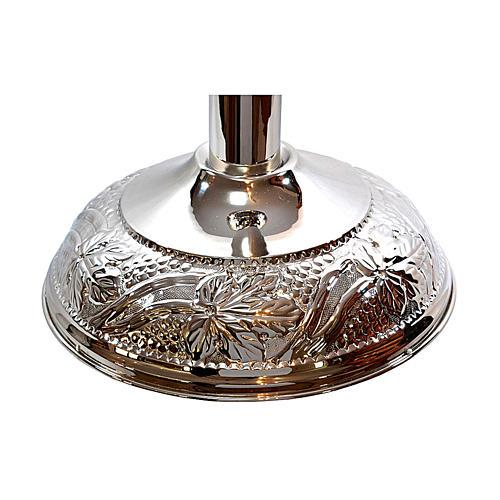 Fonte Battesimale grappoli e foglie ottone argentato 3